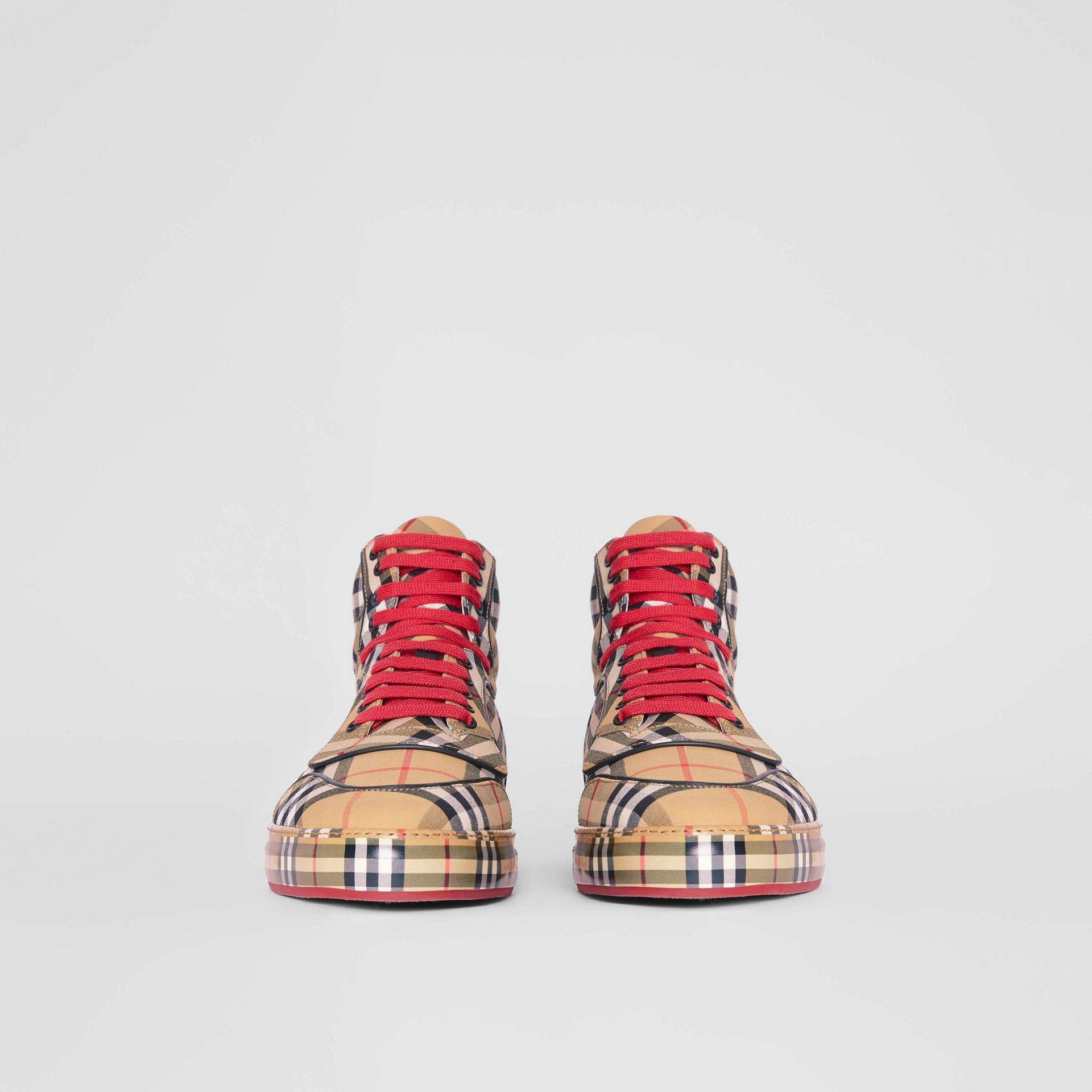 Vintage Check Cotton High-top Sneakers in Antique Yellow - Men | Burberry Australia - gallery image 3