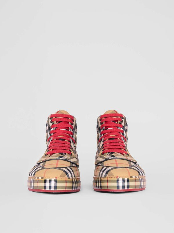 Vintage Check Cotton High-top Sneakers in Antique Yellow - Men | Burberry Australia - cell image 3