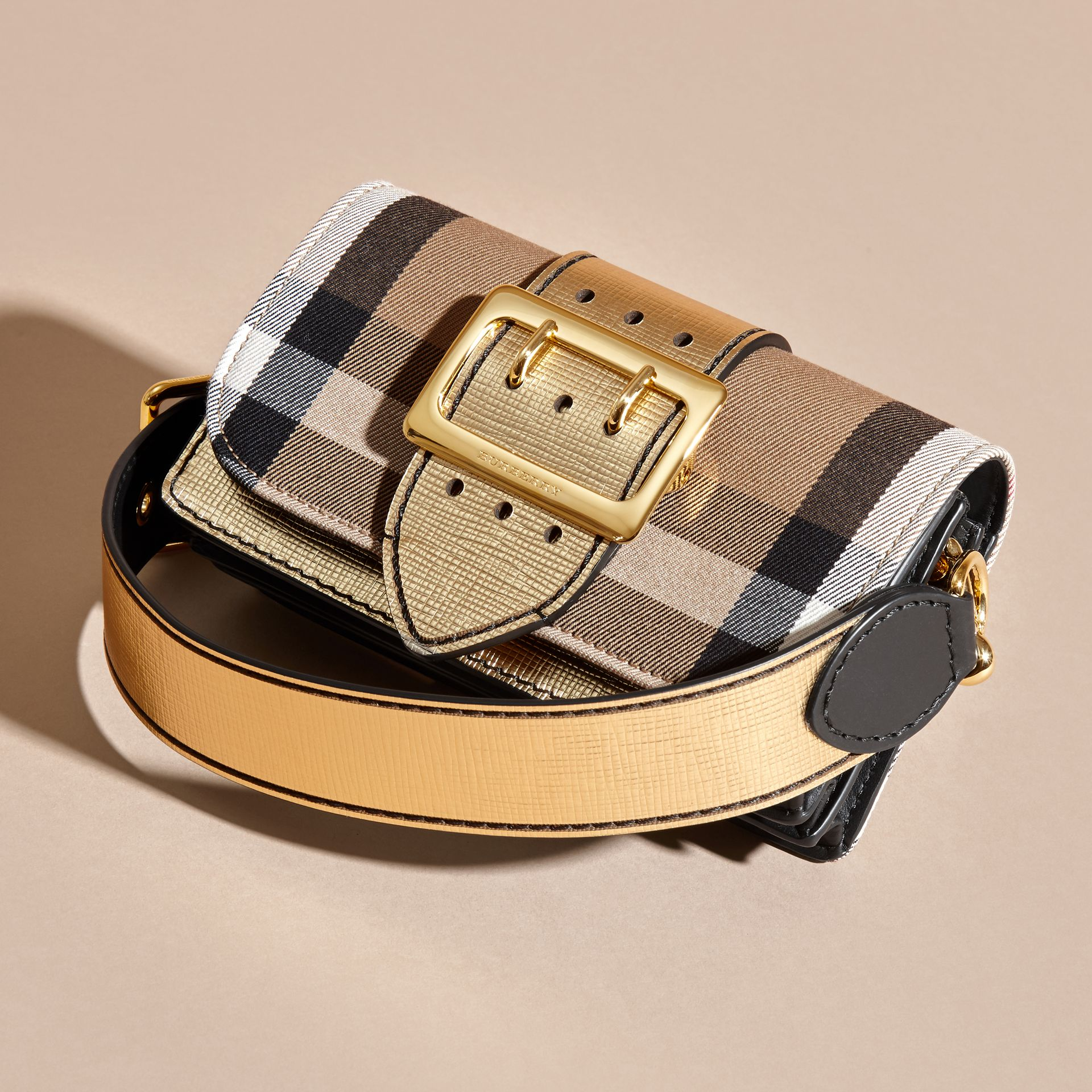 The Small Buckle Bag in House Check and Leather Gold - gallery image 8