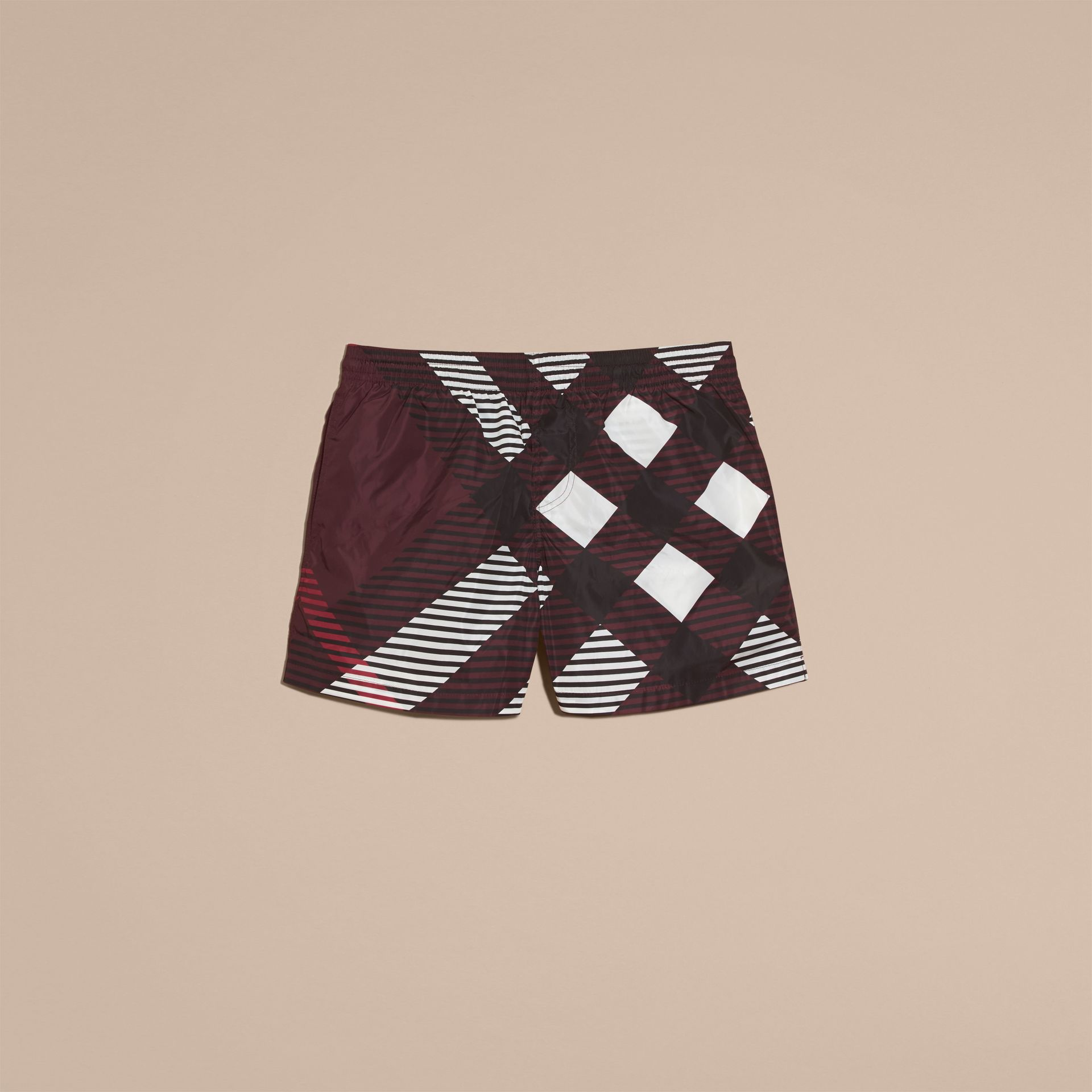 Deep claret Abstract Check Swim Shorts - gallery image 4