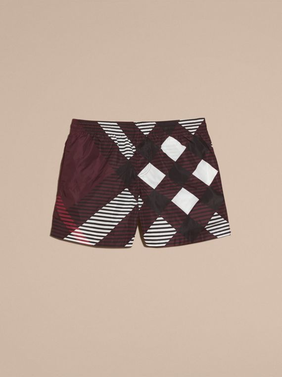 Deep claret Abstract Check Swim Shorts - cell image 3