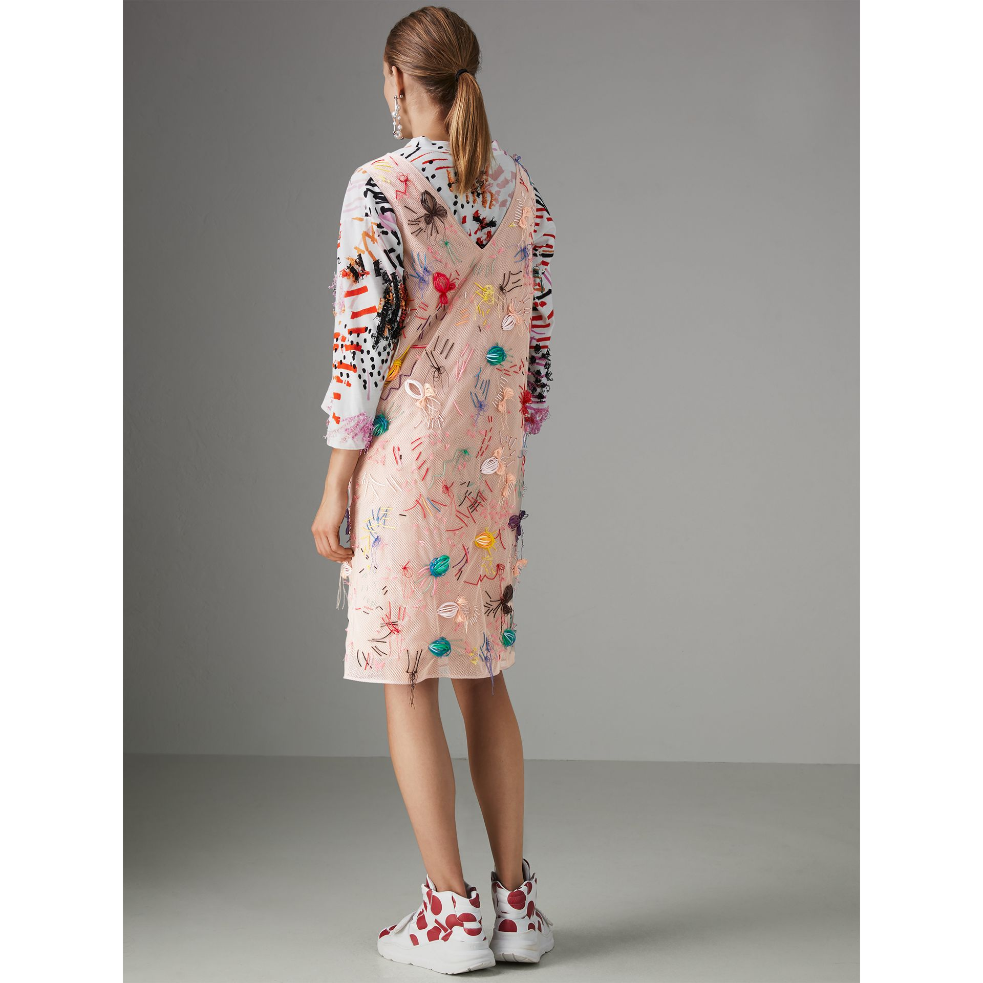 Embellished Sleeveless Dress in Multi-bright Pink - Women | Burberry - gallery image 2