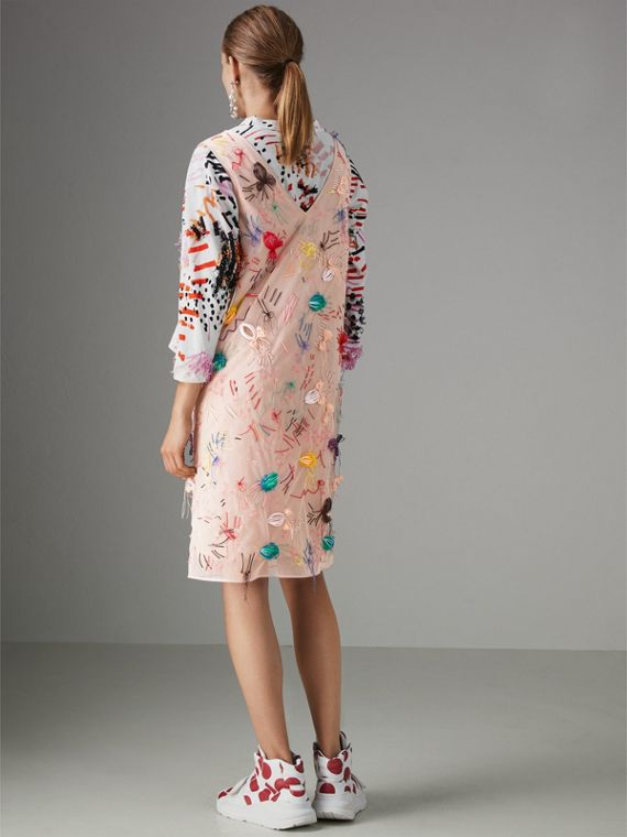 Embellished Sleeveless Dress in Multi-bright Pink - Women | Burberry - cell image 2