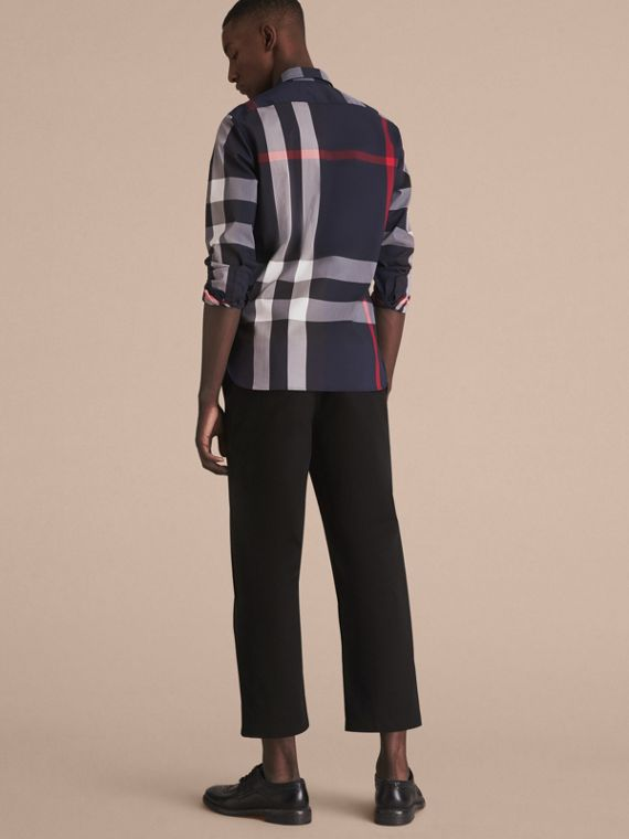 Button-down Collar Check Stretch Cotton Blend Shirt in Navy - Men | Burberry Singapore - cell image 2