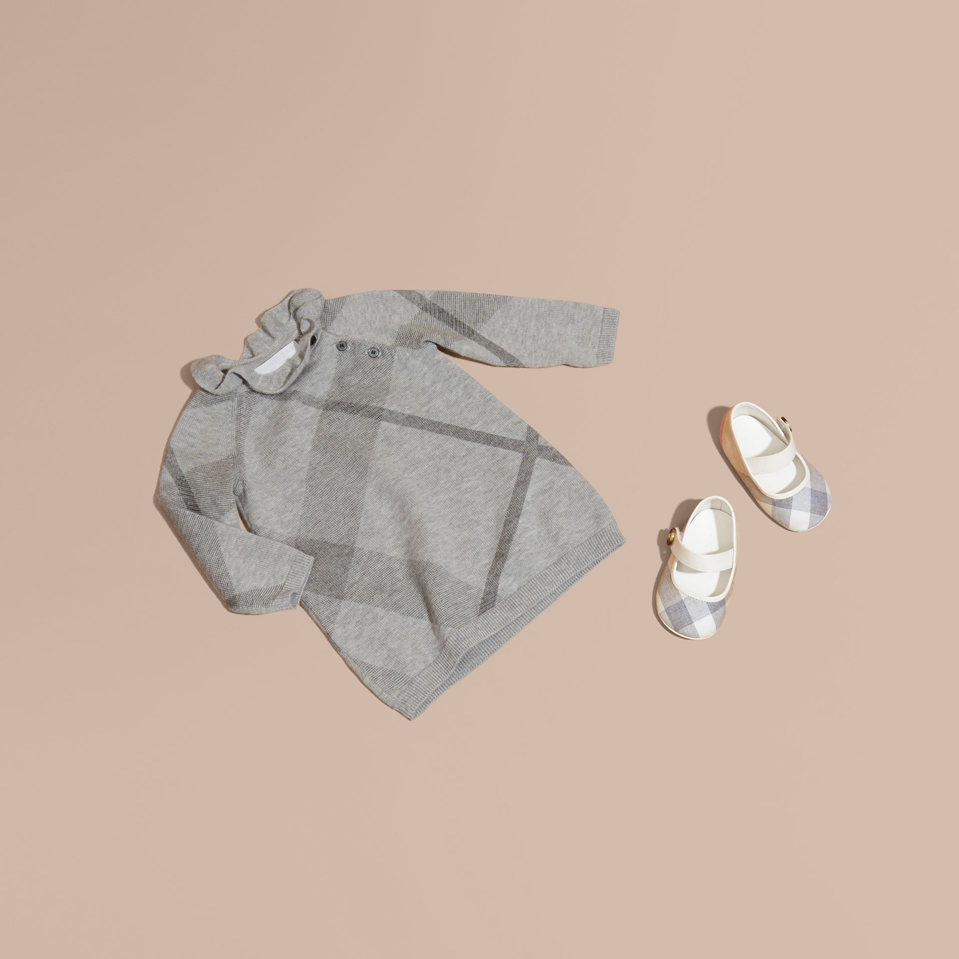 Pale grey melange Check Cashmere Cotton Ruffle Collar Dress - gallery image 1