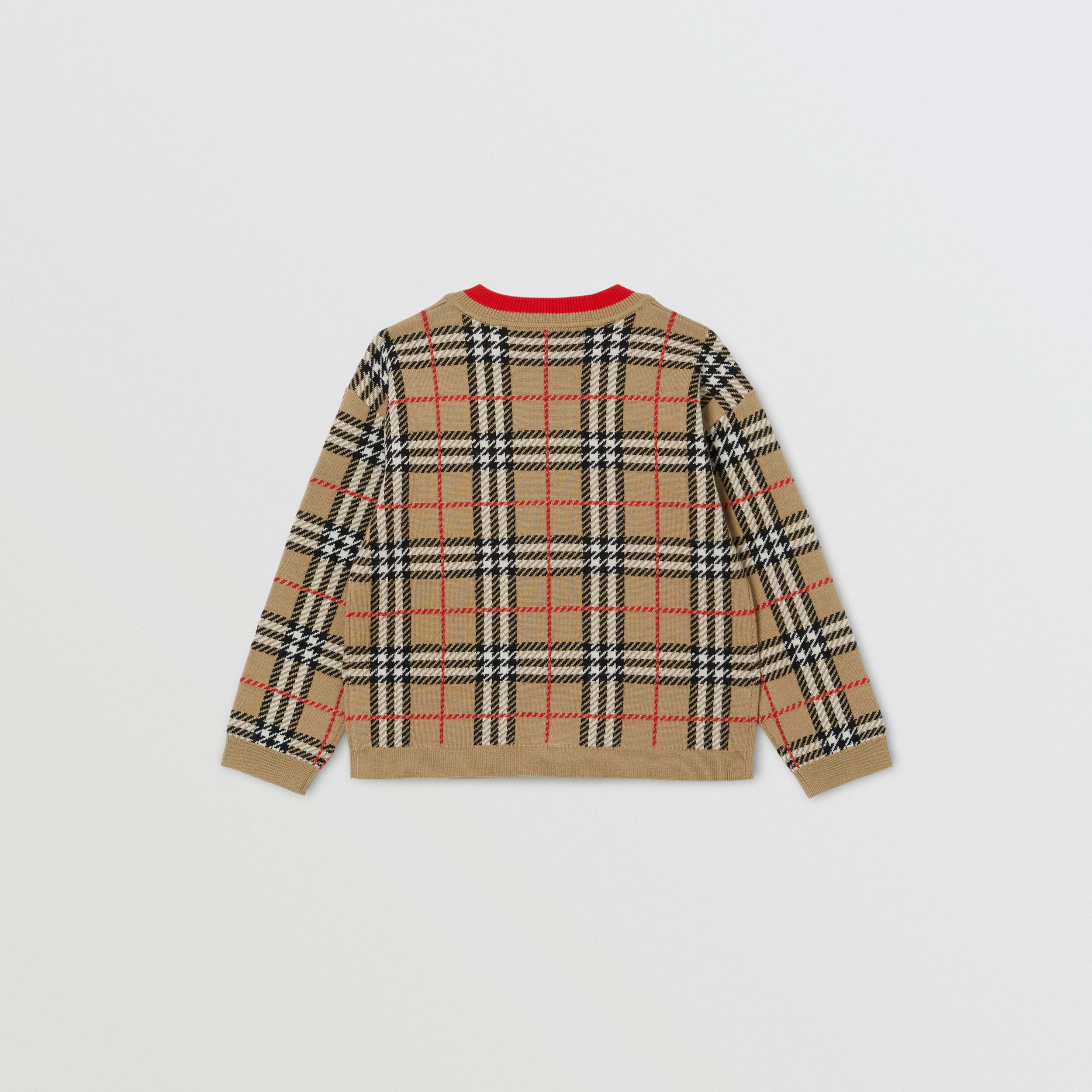 Check Merino Wool Jacquard Cardigan | Burberry - 3