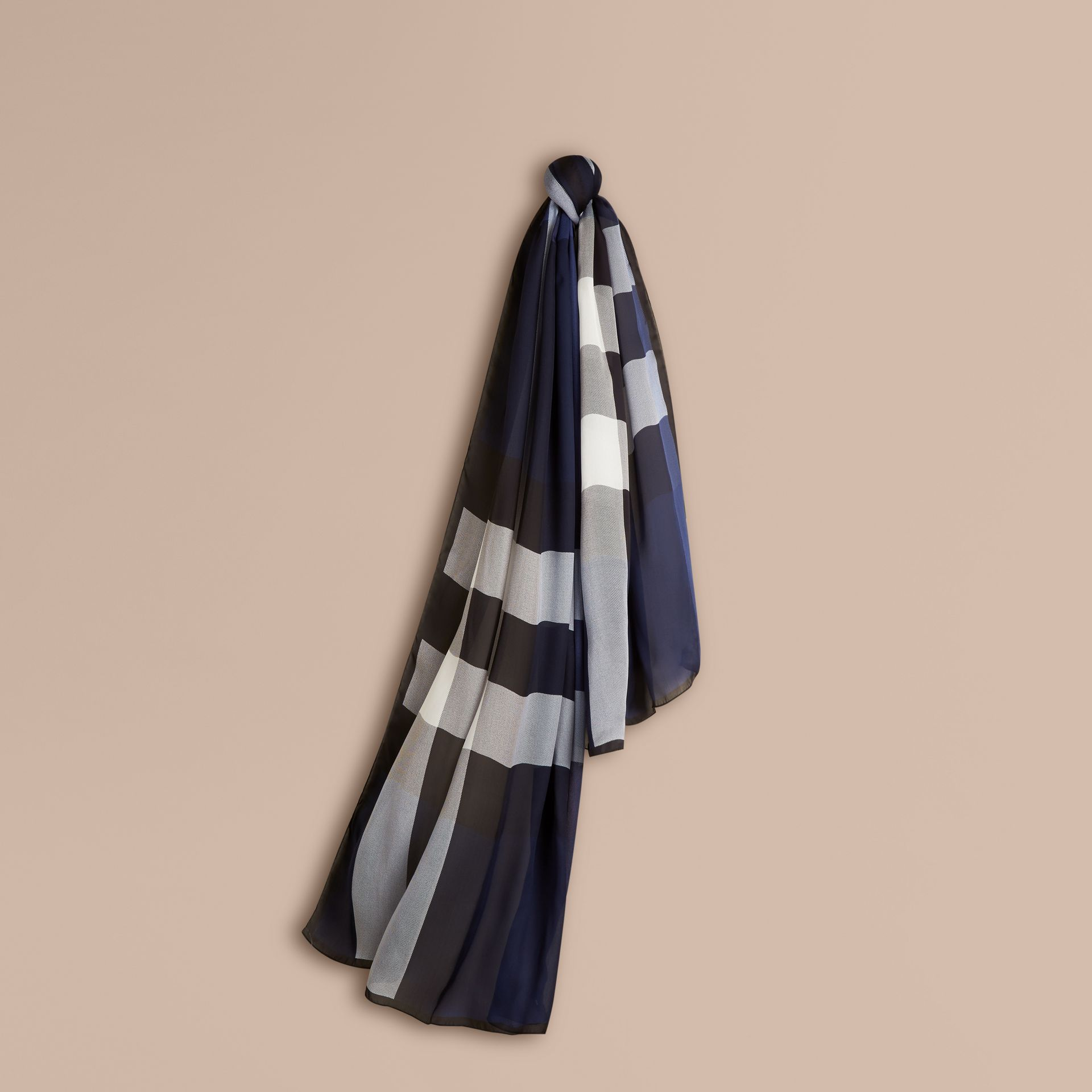 Lightweight Check Silk Scarf Indigo Blue - gallery image 1
