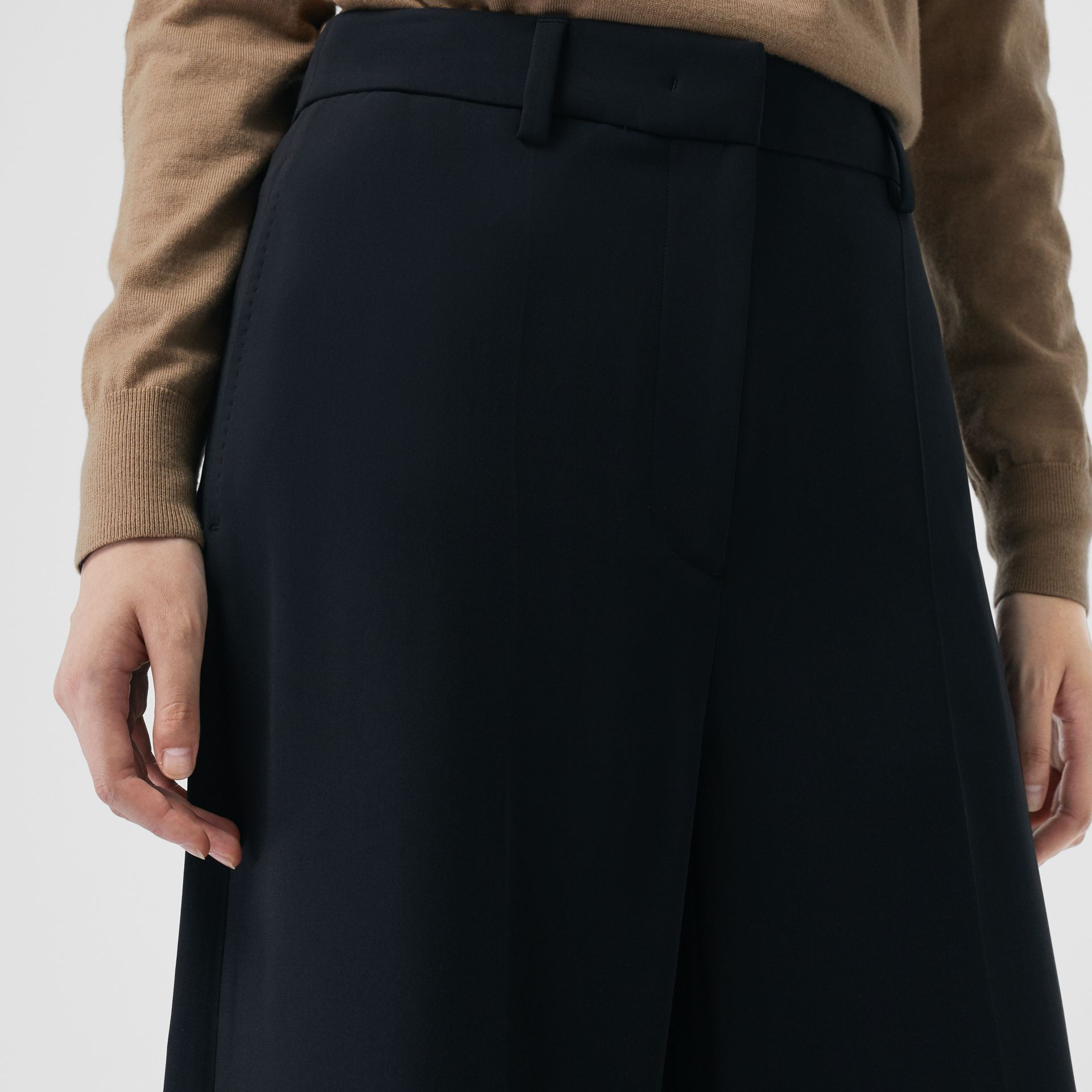 Silk Wool Tailored Culottes in Black - Women | Burberry - gallery image 1