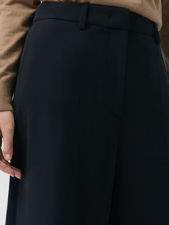 Silk Wool Tailored Culottes in Black - Women | Burberry - cell image 1