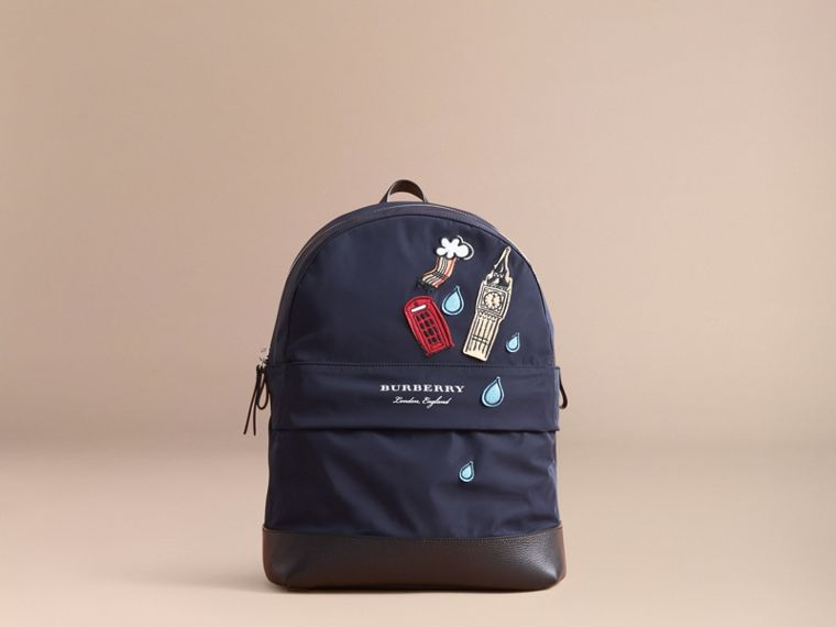 London Icons Appliqué Lightweight Mini Backpack in Ink | Burberry - cell image 4