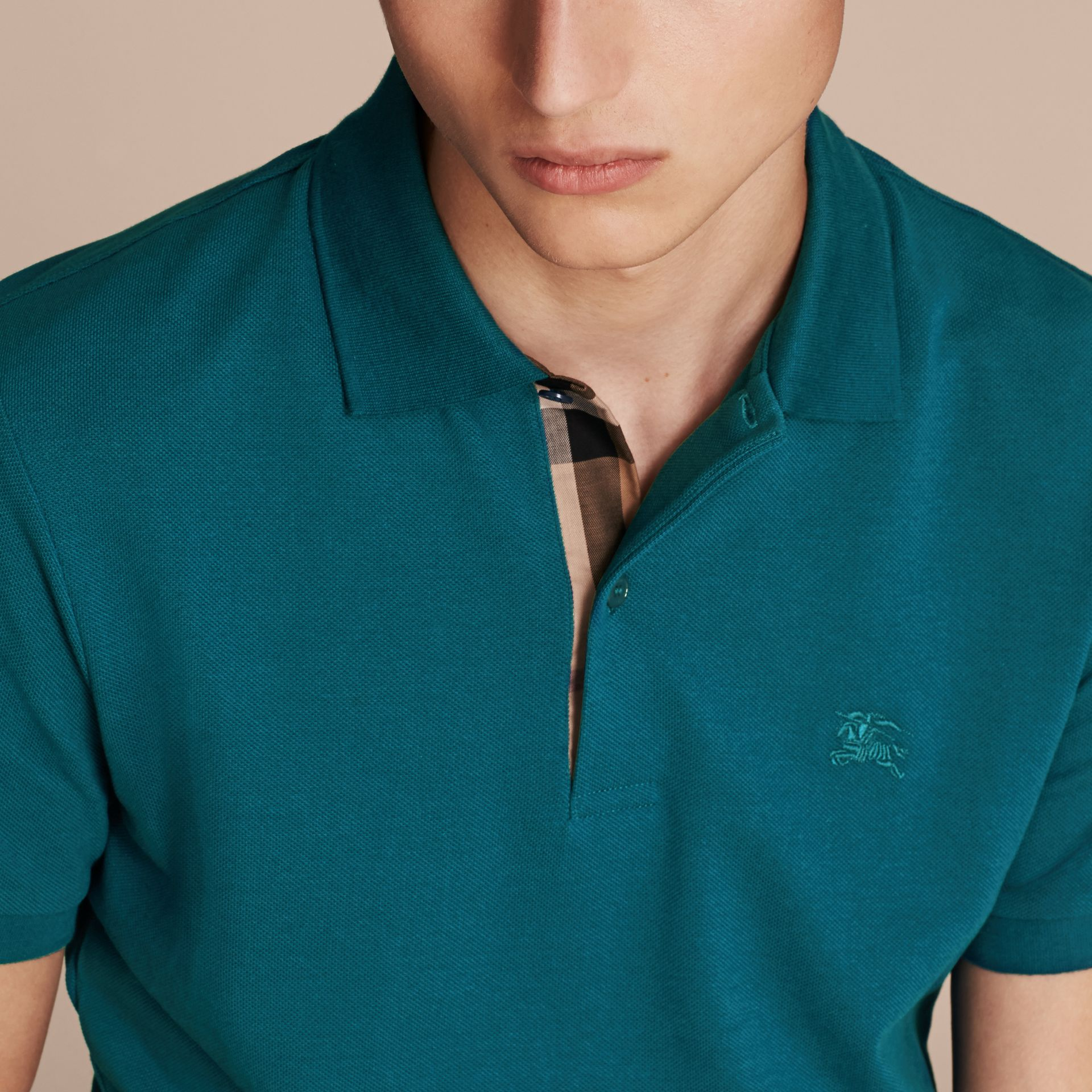 Check Placket Cotton Piqué Polo Shirt in Mineral Blue - gallery image 5