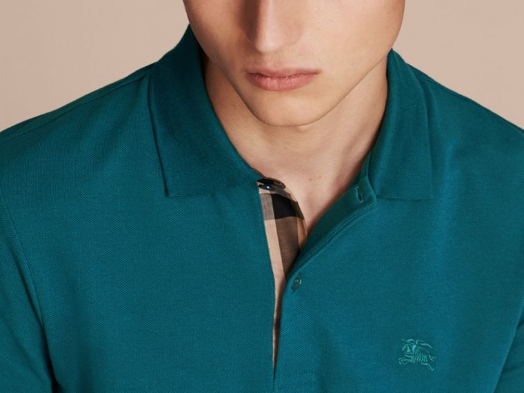 Check Placket Cotton Piqué Polo Shirt in Mineral Blue - Men | Burberry - cell image 4