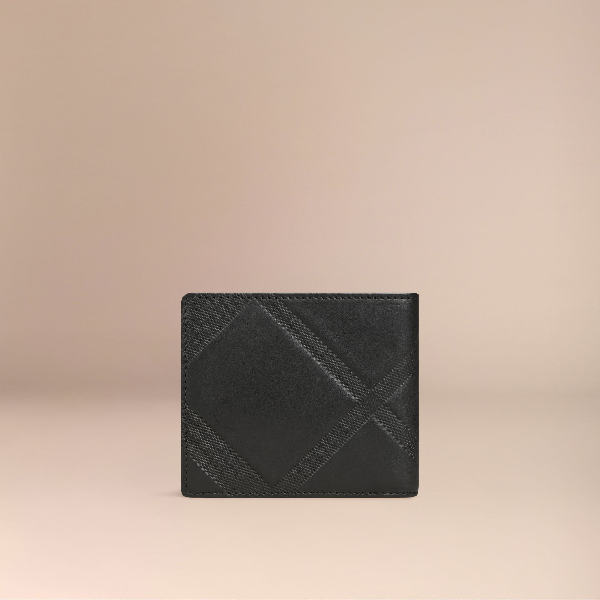 Black Check-embossed Leather Folding Wallet Black - gallery image 3