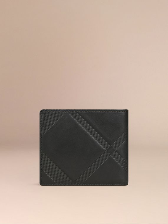 Black Check-embossed Leather Folding Wallet Black - cell image 2