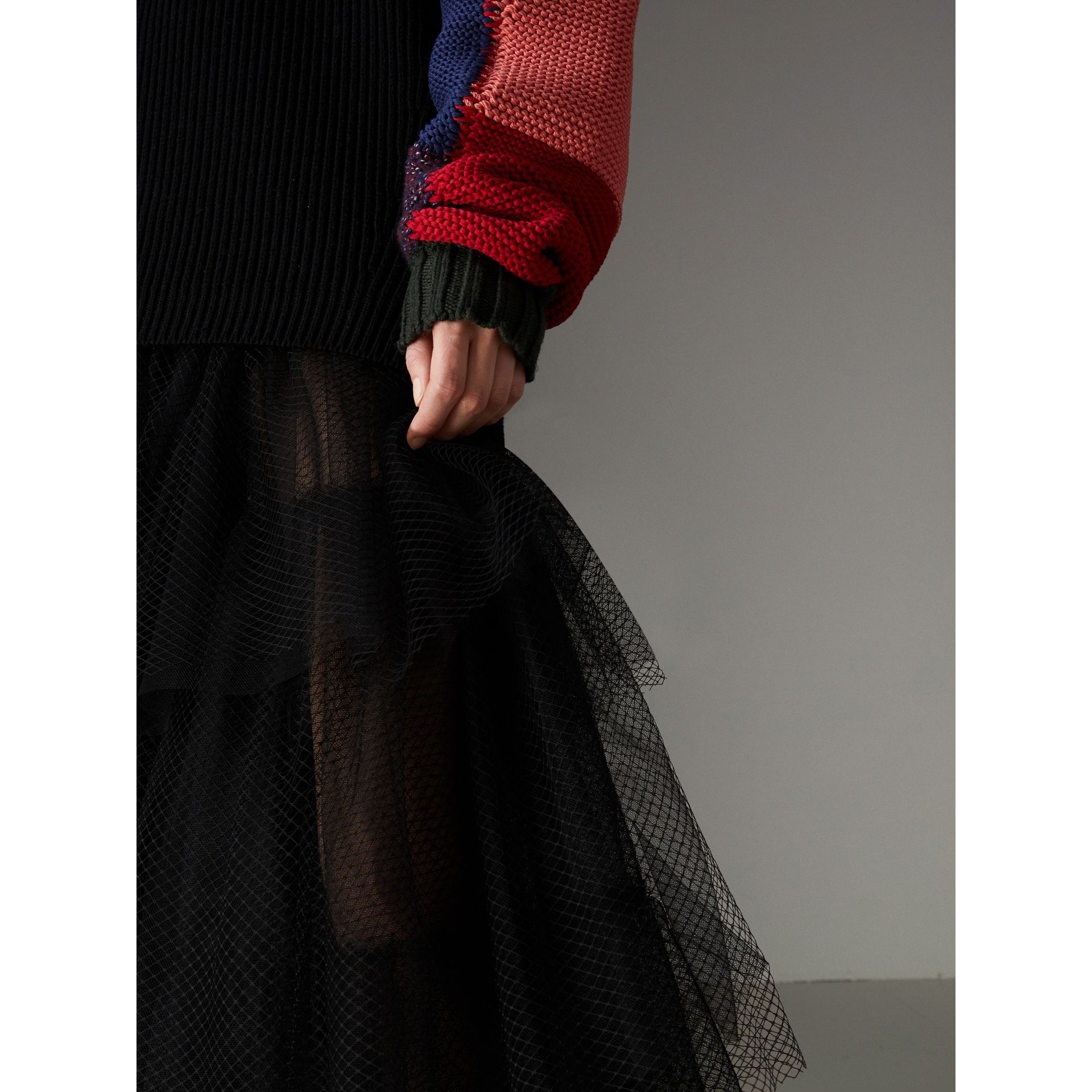 Tiered Open-net Tulle Skirt in Black - Women | Burberry - gallery image 1