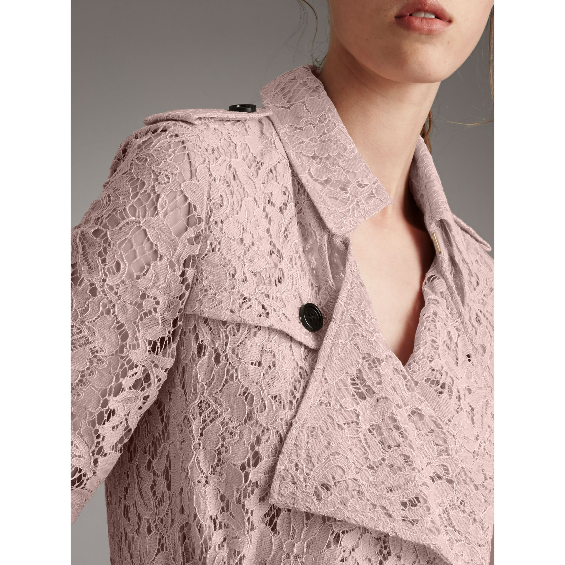 Macramé Lace Wrap Trench Coat in Nude - Women | Burberry - gallery image 2