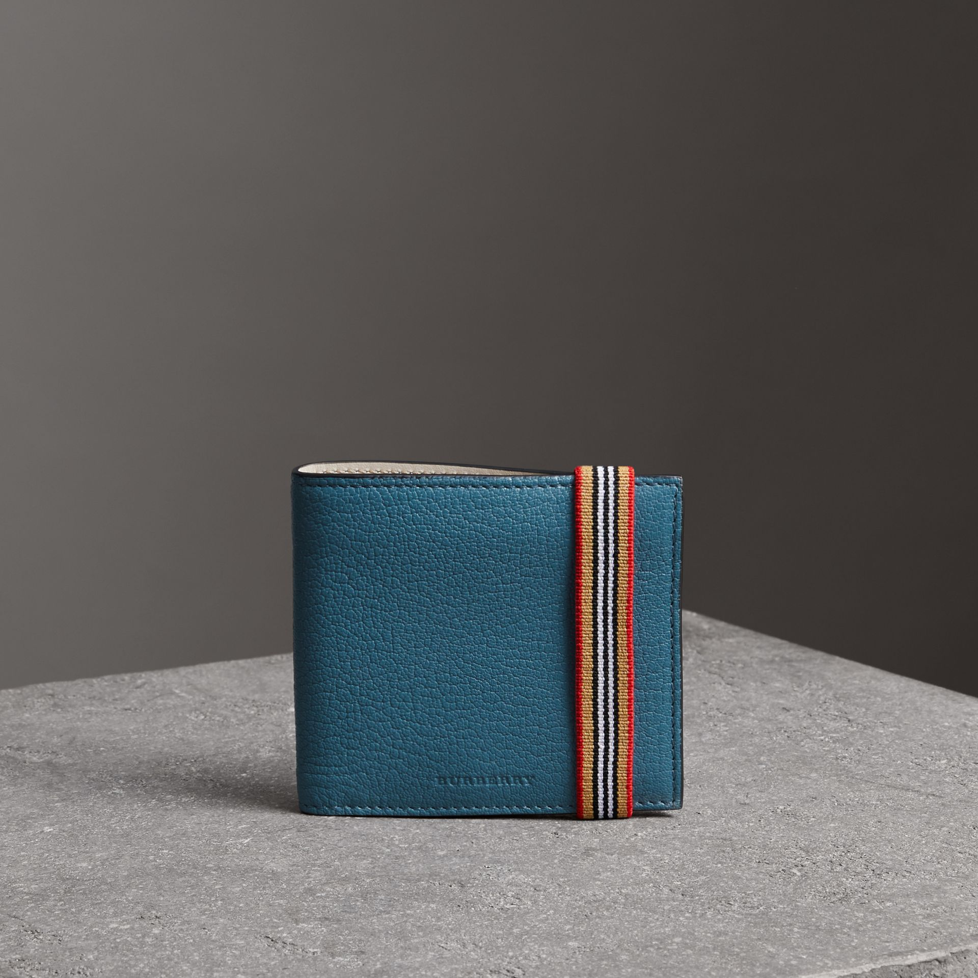 Icon Stripe Leather International Bifold Wallet in Peacock Blue - Men | Burberry - gallery image 0