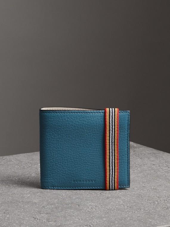 Cartera plegable para todas las divisas en piel con cinta a rayas (Azul Pavo Real)