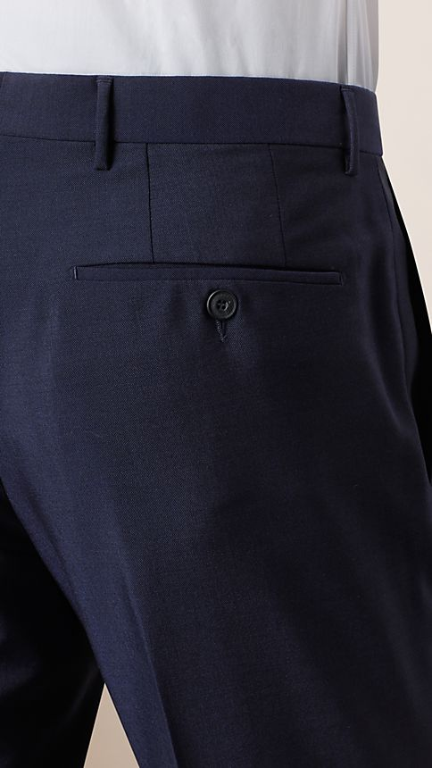Navy Modern Fit Wool Mohair Trousers - Image 3