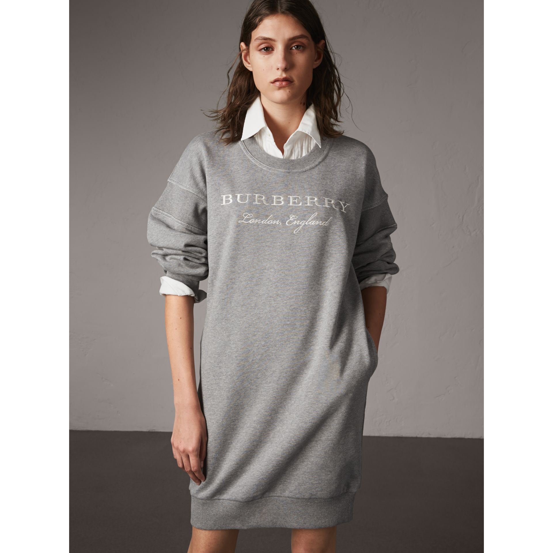 Embroidered Motif Cotton Jersey Sweatshirt Dress in Pale Grey Melange - Women | Burberry - gallery image 1