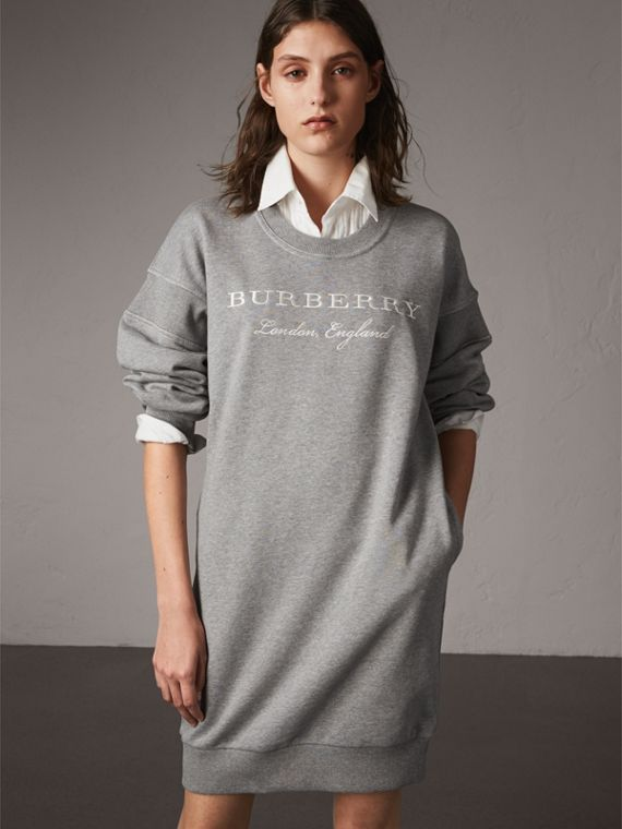Embroidered Motif Cotton Jersey Sweatshirt Dress in Pale Grey Melange