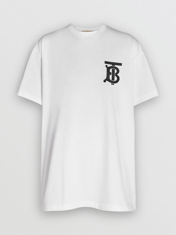 Monogram Motif Cotton Oversized T-shirt in White - Men | Burberry - cell image 1