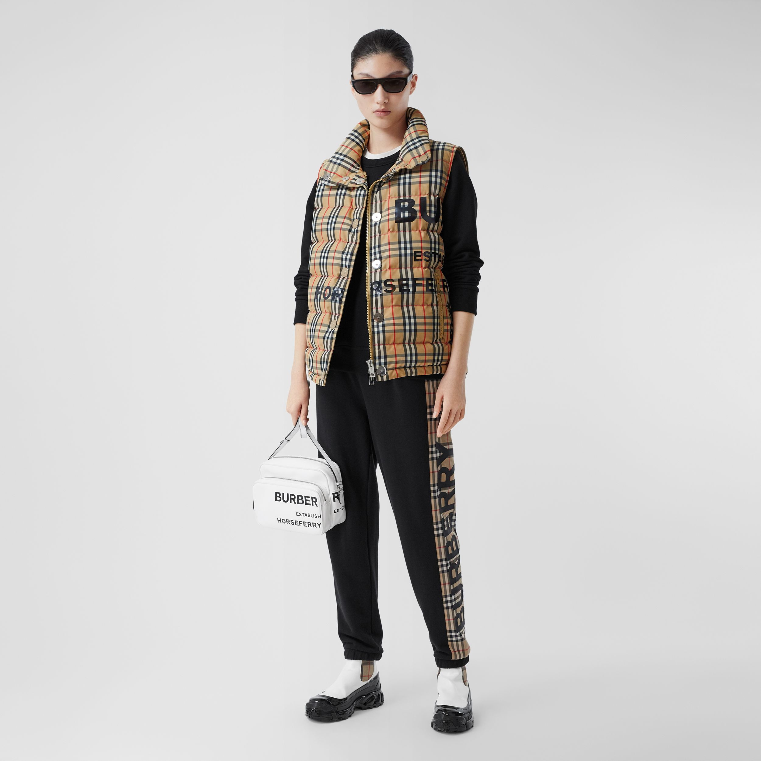 Horseferry Print Vintage Check Puffer Gilet in Archive Beige - Women | Burberry - 1