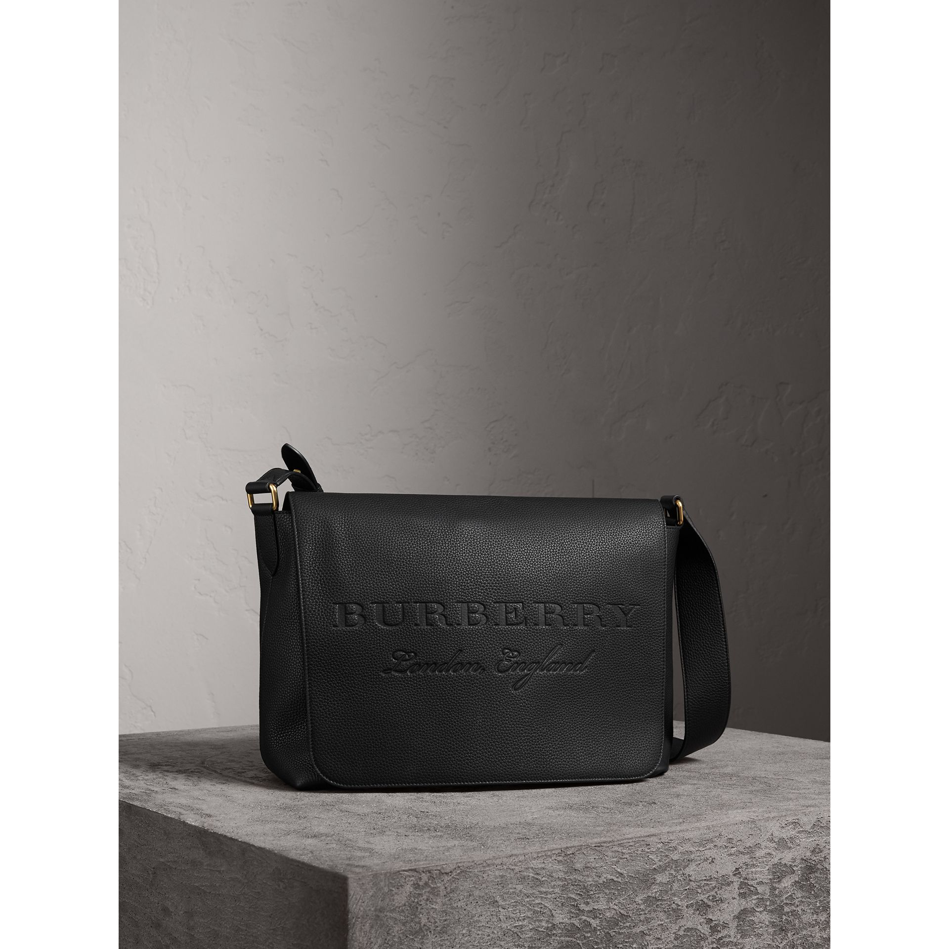 Large Embossed Leather Messenger Bag in Black | Burberry - gallery image 6