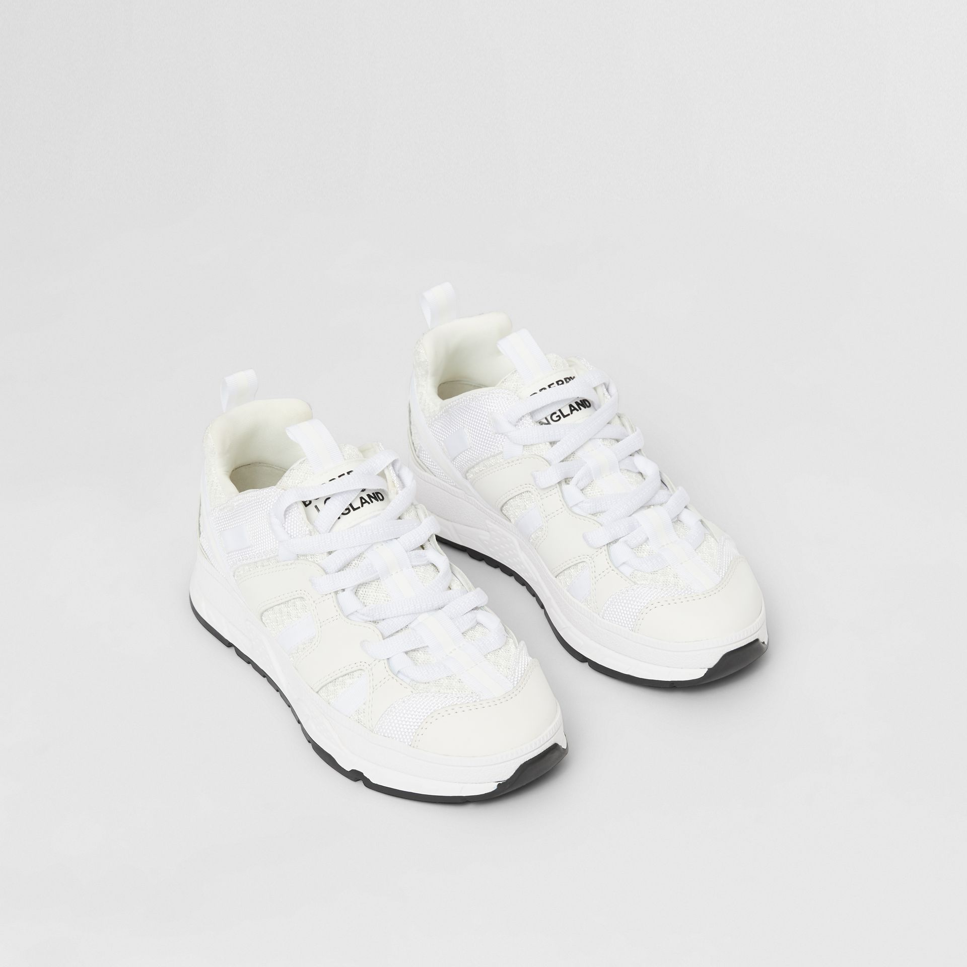 Mesh and Nubuck Union Sneakers in Optic White - Children | Burberry - gallery image 0