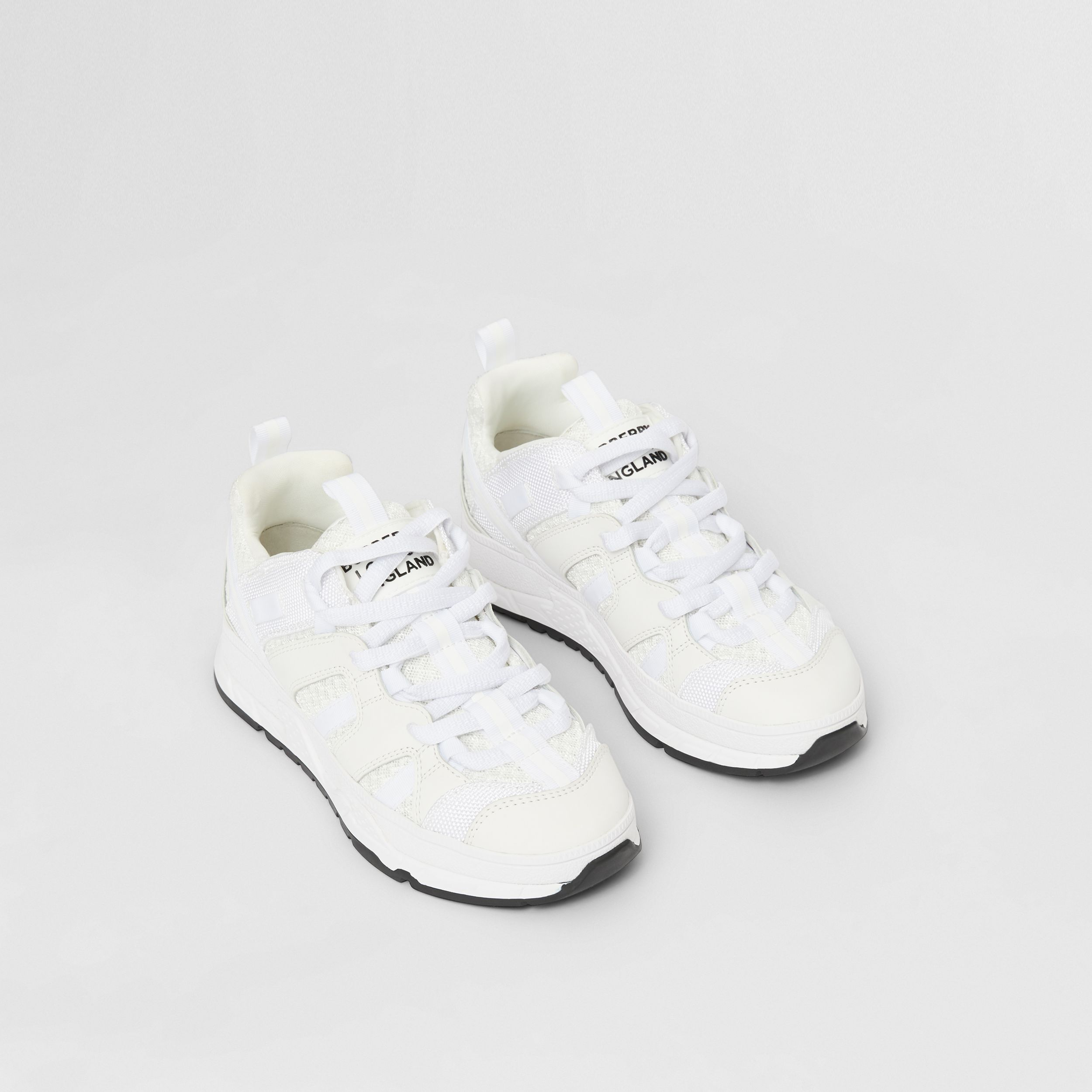 Mesh and Nubuck Union Sneakers in Optic White - Children | Burberry - 1