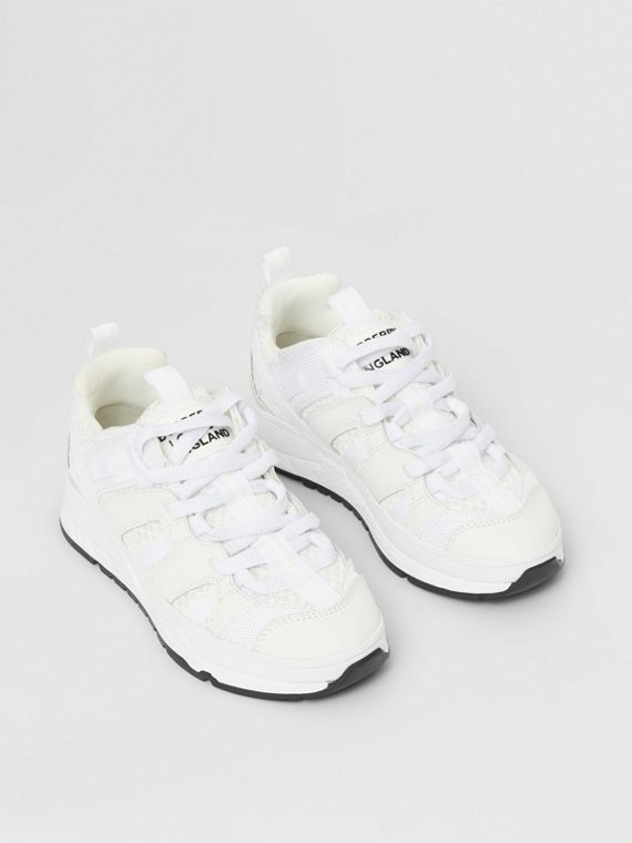 Mesh and Nubuck Union Sneakers in Optic White