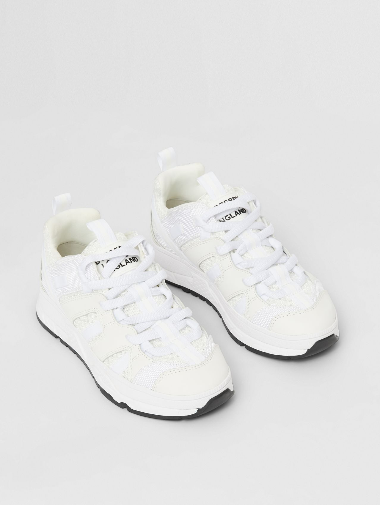 Mesh and Nubuck Union Sneakers (Optic White)