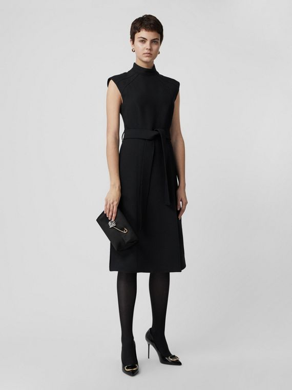 Wool Silk Belted Shift Dress in Black
