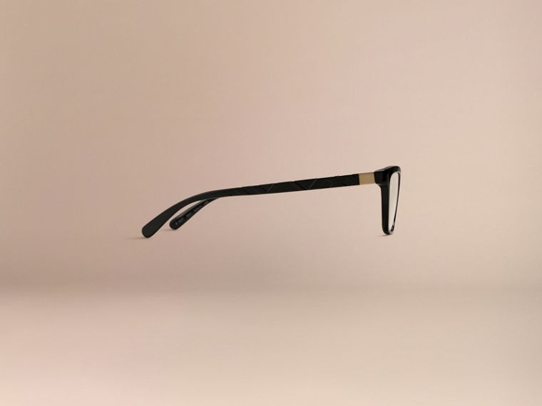 Black Check Detail Cat-eye Optical Frames Black - cell image 4
