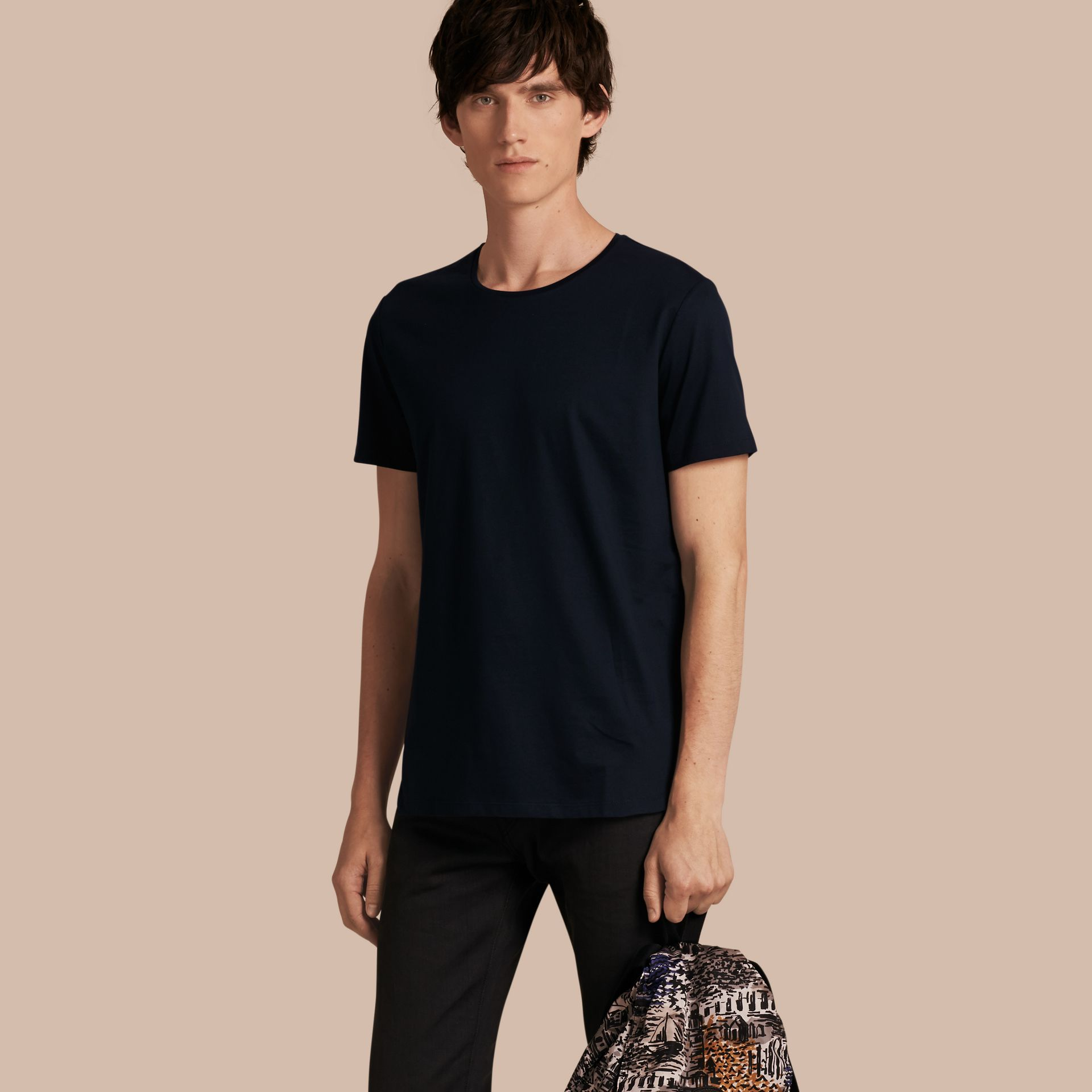 Crew Neck Cotton T-shirt in Navy - Men | Burberry - gallery image 1