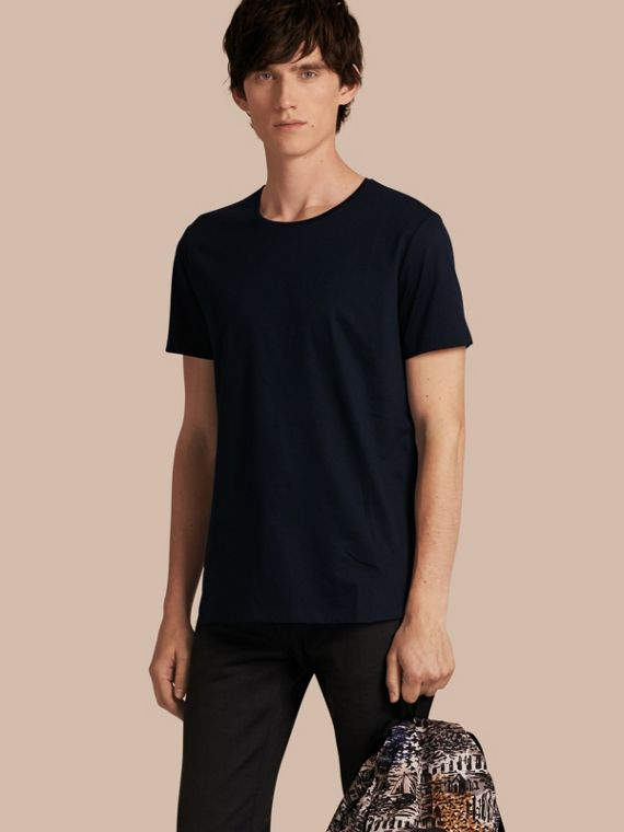 Crew Neck Cotton T-shirt in Navy