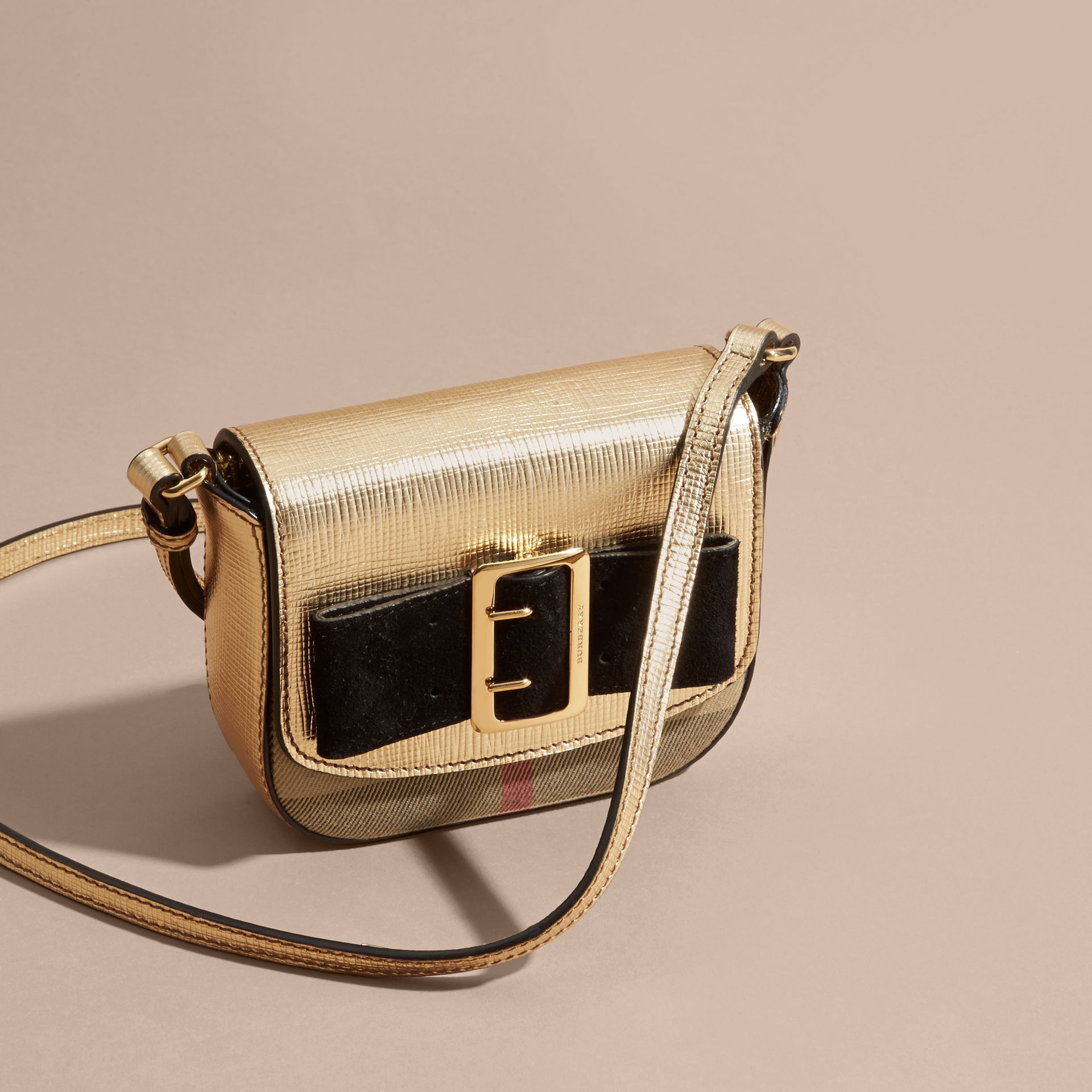 Gold Buckled Bow Metallic Leather Crossbody Bag - gallery image 3