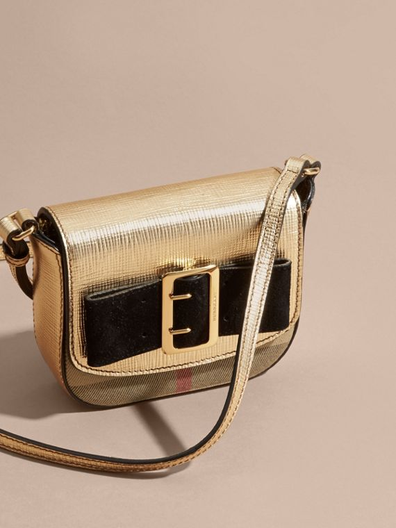Gold Buckled Bow Metallic Leather Crossbody Bag - cell image 2