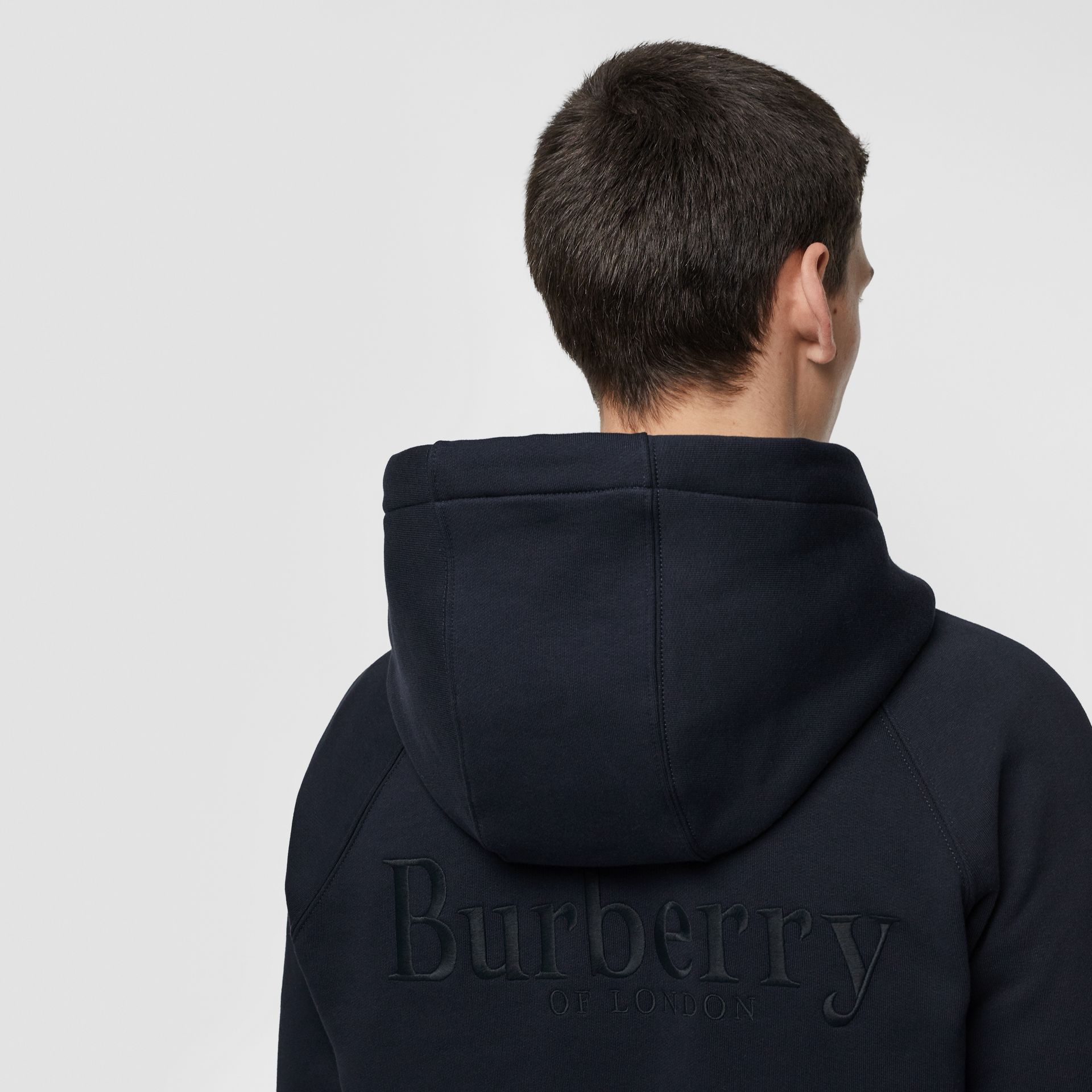 Embroidered Logo Jersey Hooded Top in Navy - Men | Burberry - gallery image 1