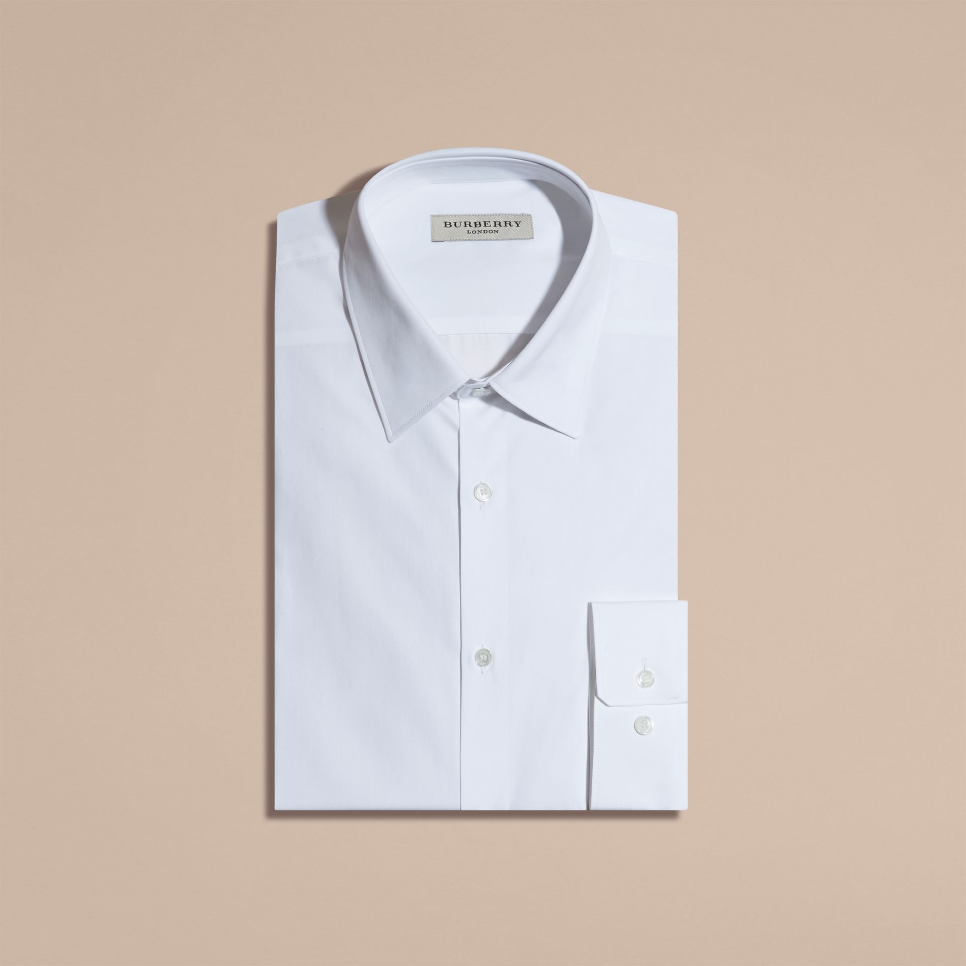 Modern Fit Cotton Poplin Shirt in White - gallery image 4