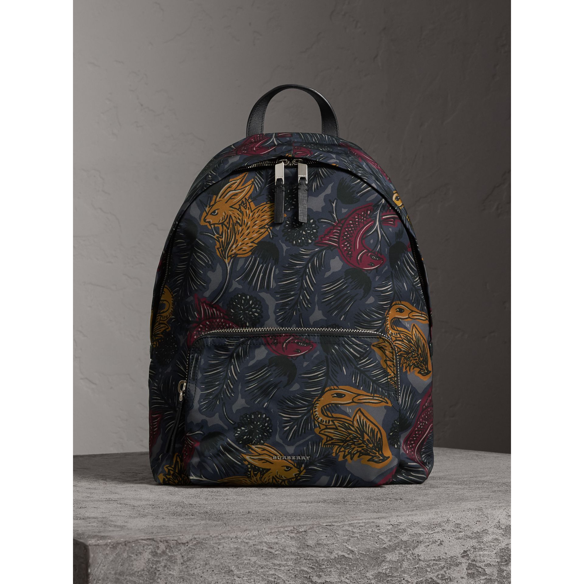 Leather Trim Beasts Print Backpack in Navy Grey - Men | Burberry - gallery image 1