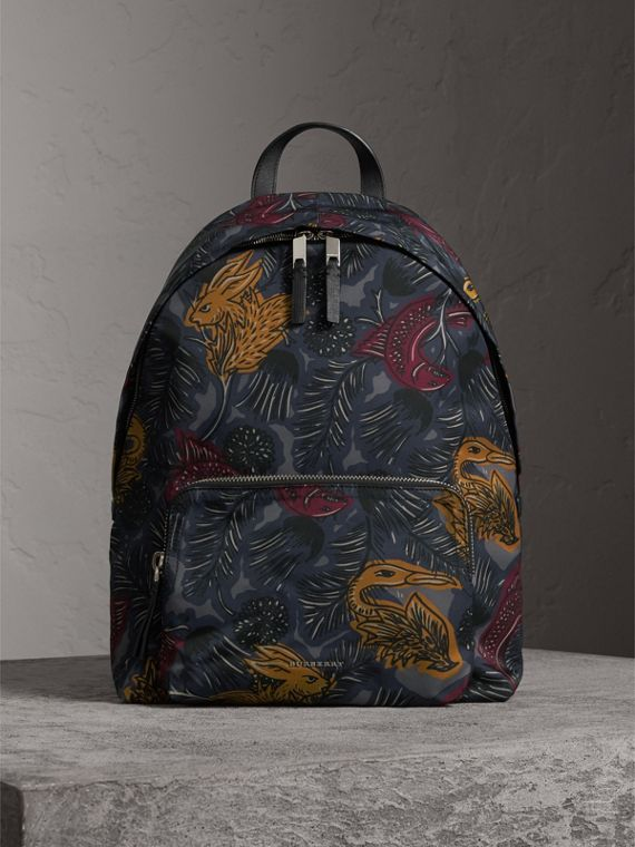 Leather Trim Beasts Print Backpack in Navy Grey