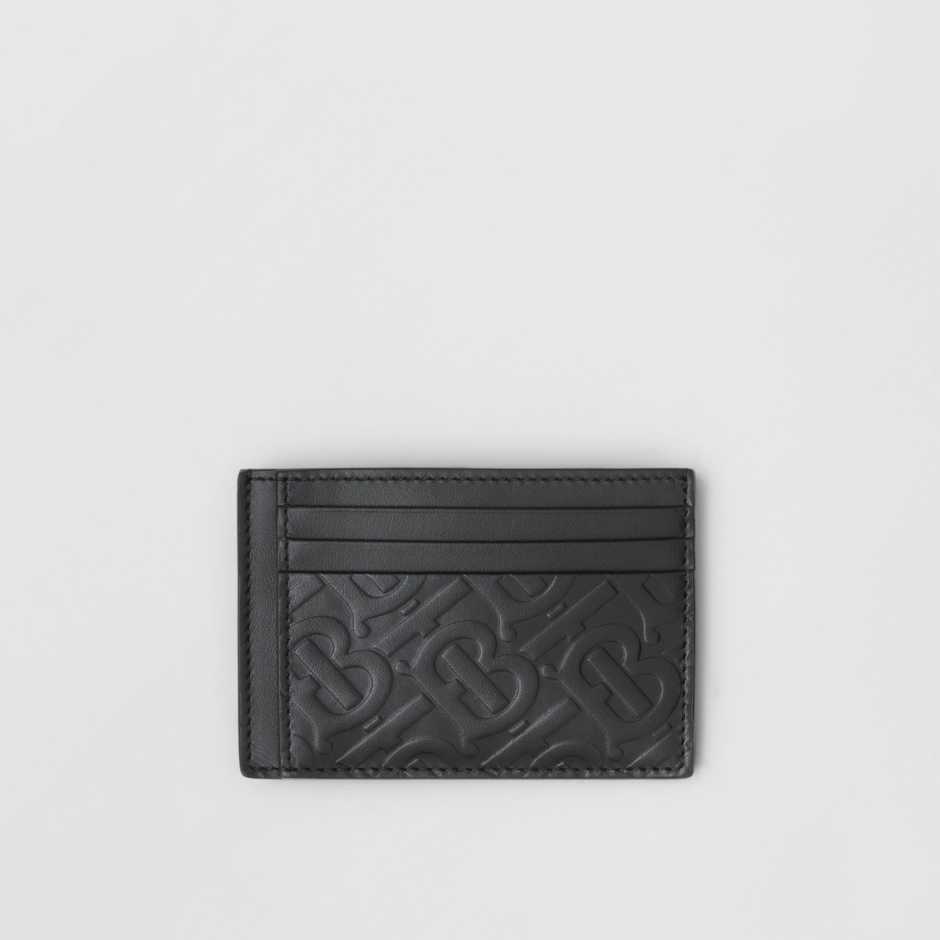 Monogram Leather Money Clip Card Case in Black - Men | Burberry United States - gallery image 0