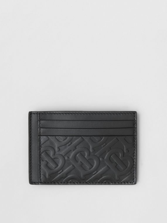 Monogram Leather Money Clip Card Case in Black