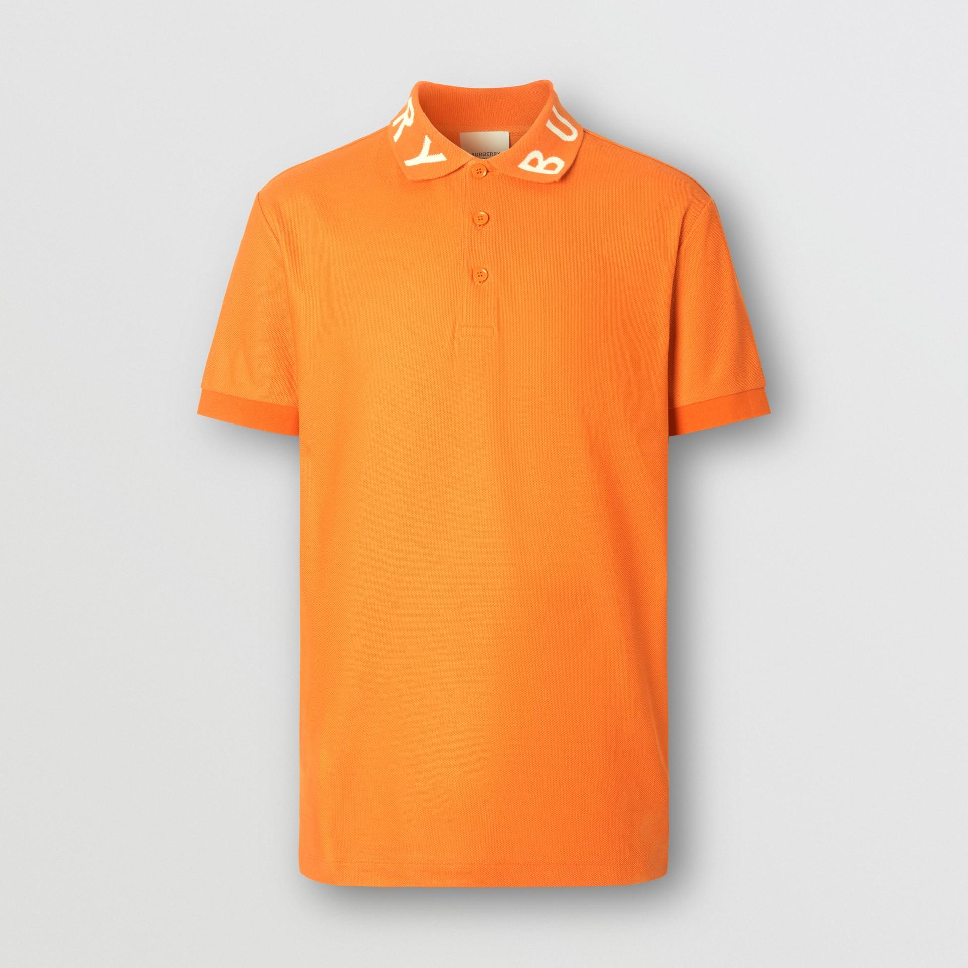 Polo in cotone piqué con logo a intarsio (Arancione Intenso) - Uomo | Burberry - immagine della galleria 3