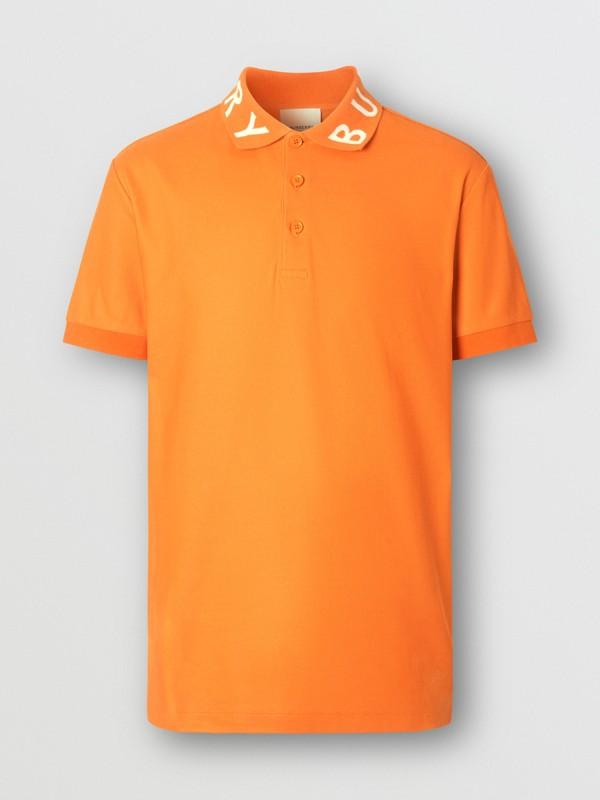 Polo in cotone piqué con logo a intarsio (Arancione Intenso) - Uomo | Burberry - cell image 3