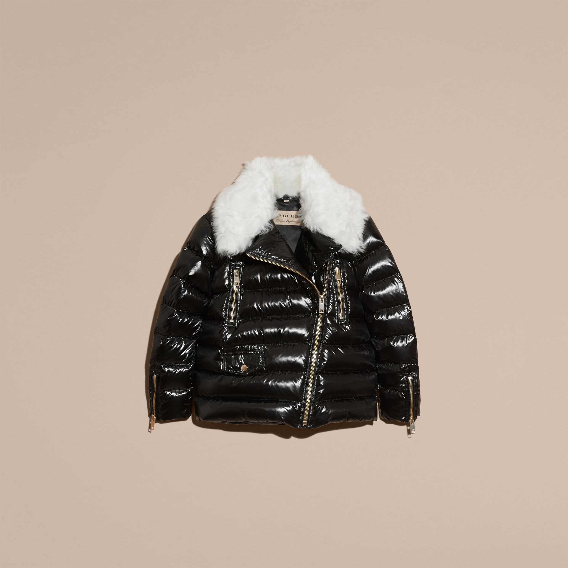 Black Detachable Fur Collar Oversize Down-filled Glossy Puffer - gallery image 4