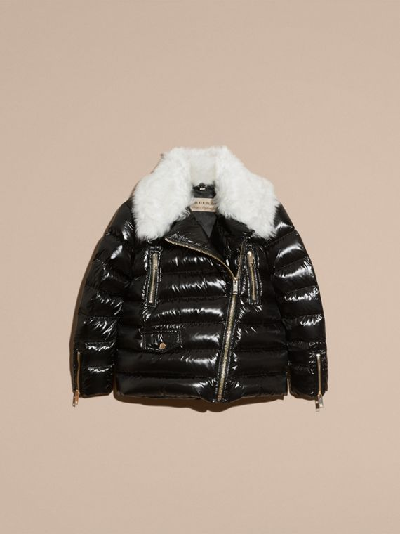 Black Detachable Fur Collar Oversize Down-filled Glossy Puffer - cell image 3