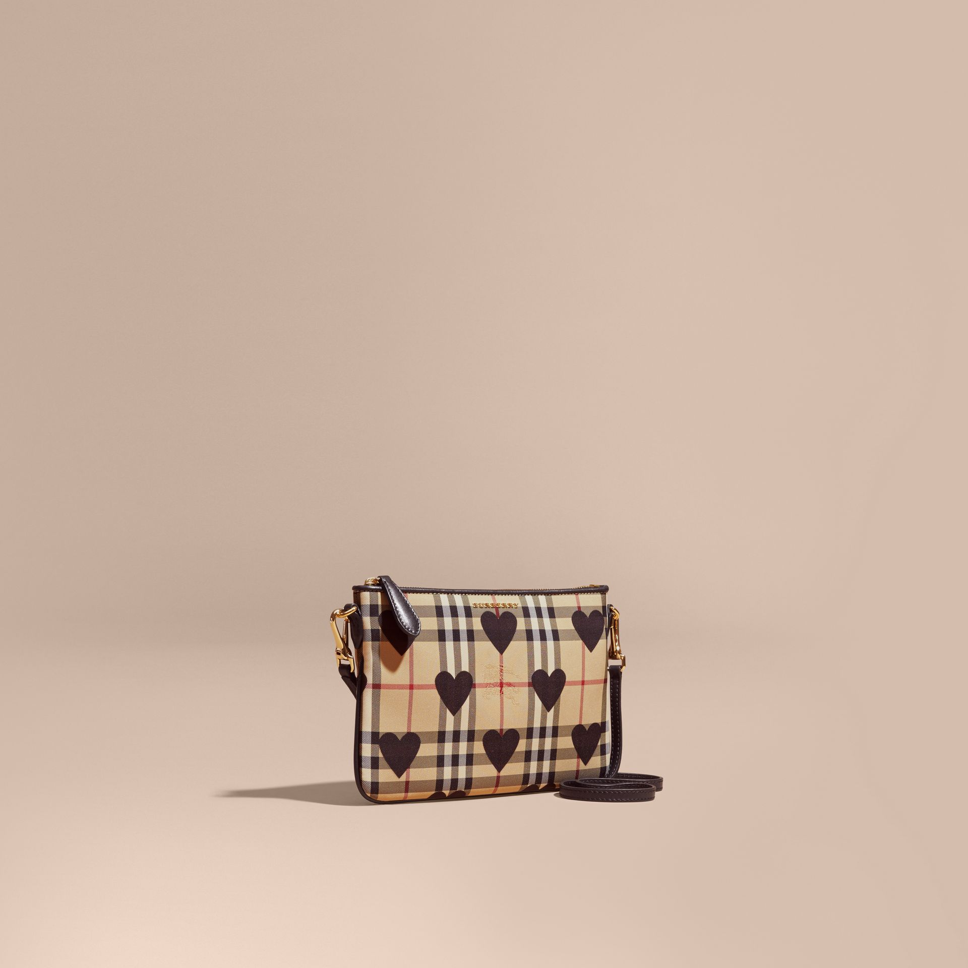 Heart Print Check and Leather Clutch Bag in Black - gallery image 1