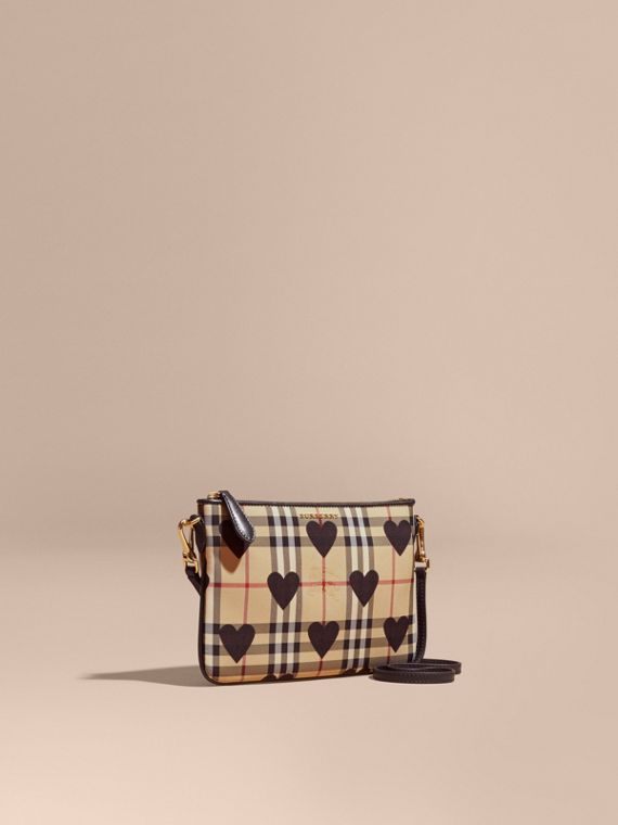 Heart Print Check and Leather Clutch Bag Black